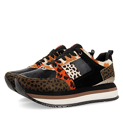 Sneakers Negras con Mix de Prints y Suela Gruesa para Mujer VYKSA