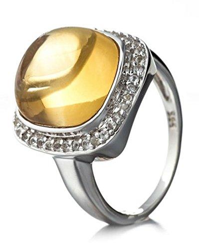 Silvancé – Anello da donna placcato rodio in argento Sterling 925/1000, pietre preziose: citrino (ca.  7,89 ct.), R8970C_SSR e placcato Argento, 54 (17.2), cod. R8970C_SSR_17