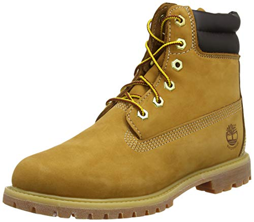Timberland Waterville 6 Inch Double Collar Waterproof, Botas para Mujer, Amarillo (Wheat Nubuck), 42 EU