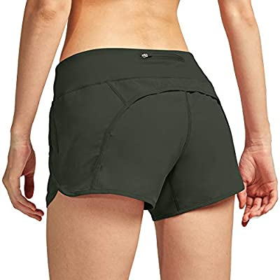 CongYee Women Athletic Shorts with Inner Zipper Pockets Loose Quick-Dry Workout Sports Active Running Shorts Green-M