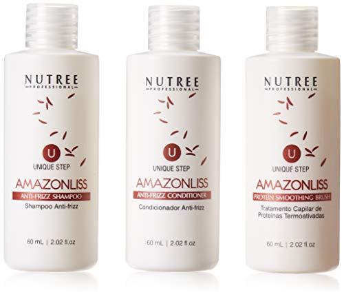 Hair Straightening Brazilian Protein Treatment 1 Step Amazonliss Protein Smoothing Brush 2.02 Fl.oz - New Formula - Odor-Free - Formaldehyde-Free (2.02 fl.oz set)