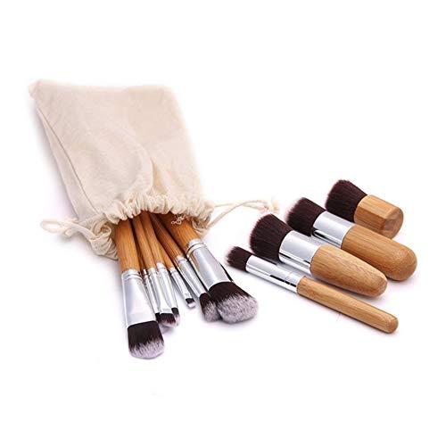 11Pcs Pinceau De Maquillage, Bambou Poignée Sac En Lin Portable Fibre Pinceau De Maquillage, Maquillage De Base Essentiels Pour Le Visage Complet