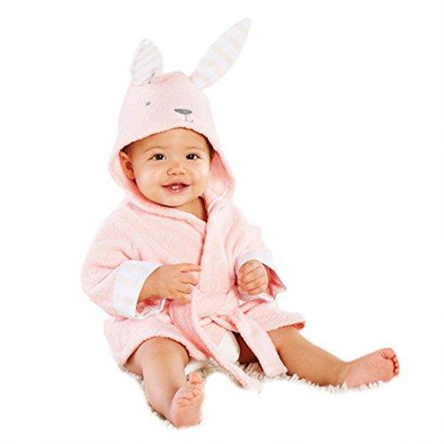 Casa CASA Baby Kapuzenbademantel Nachthemd 3D Cartoon Tier Badetuch Umhang Ultra-Soft Fleece Pyjamas Kid Decke Kaninchen 100cm