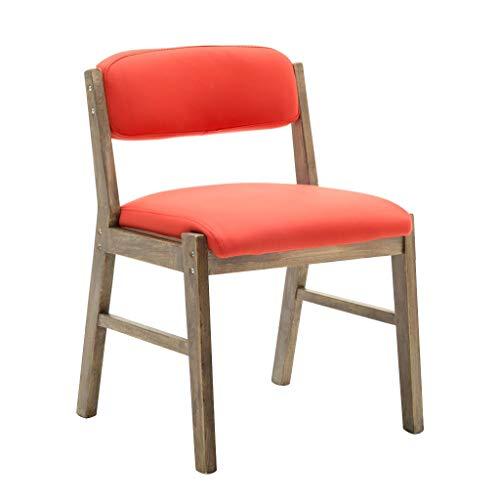 SJHQ Sillas de comedor de cocina, sillas de comedor, silla de madera maciza para uso en el hogar, respaldo, dormitorio, escritorio, balcón, ordenador, ocio, cafetería, cocina (color: naranja)