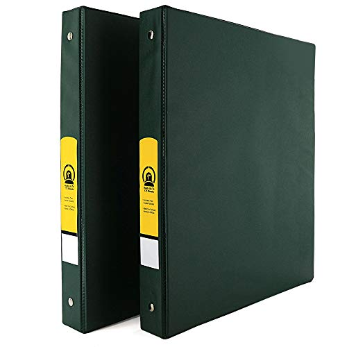 """Emraw Super 1"""" Inch 3-Ring Binder with 2 Side Pockets for Papers and Dividers - Available in Green - Great for School, Home, & Office (2-Pack)"""
