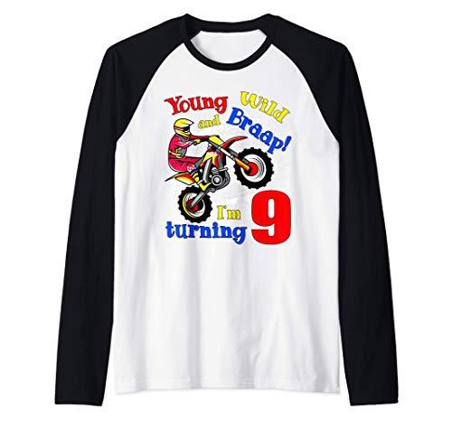 Young, Wild and Braap! I'm Turning 9 Boy Motocross Birthday Camiseta Manga Raglan