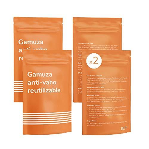 INIT - Pack 2 Gamuza Antivaho para Gafas con 200 usos - Limpia Gafas Anti Vaho Ideales para Personas Que Llevan Gafas con mascarilla - Toallita de Microfibras - Paño Antivaho sin Necesidad de liquidos