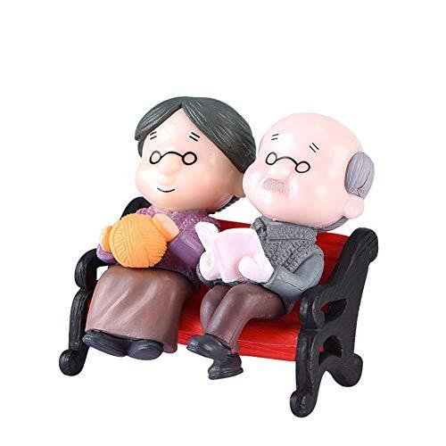 Romote 1PC Miniatur-Stuhl Opa Oma Mini-Fee Garten Ornament Puppe ältere Paare Figuren Micro Landschaft Dekoration