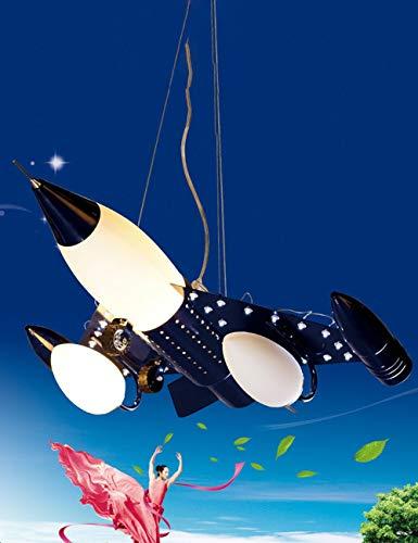 Kroonluchter meer energie besparen LED eenvoudige lamp akoestisch onderhoud creatief cartoon kinderen ruimteschip Iron Boy slaapkamer woonkamer mode -1 licht (kleur: blauw - driekleurige dimmen)