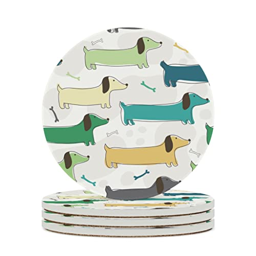 Perstonnoli Sottobicchieri rotondi in ceramica con retro in sughero, set da 4 sottobicchieri decorativi per bicchieri, tazze, vasi, candele, 10 cm, bianco, 6 pezzi