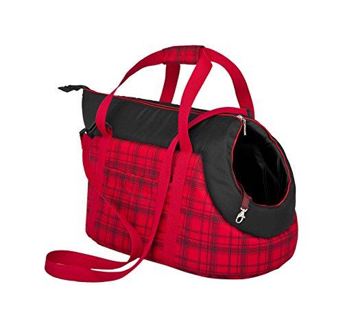 Hobbydog TORCZK12 Hundetasche Tragetasche Katzentasche, Größe 22 x 20 x 36 cm, rot mit Kariert