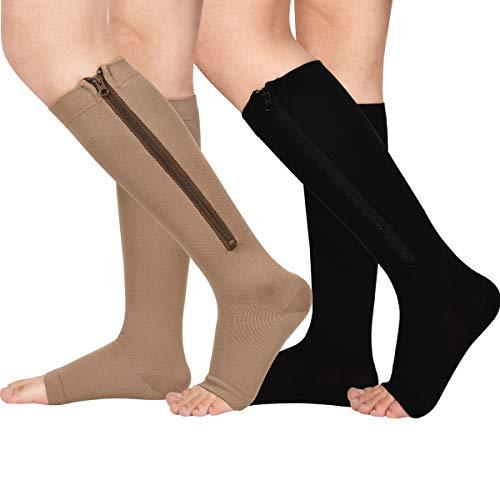 2 pares de calcetines de compresión con cremallera de 15 a 20 mmHg para hombres y mujeres, puntera abierta, L/XL