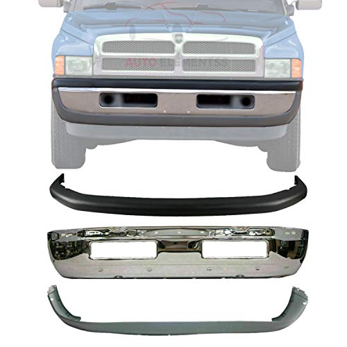 New Front Bumper Face Bar Chrome Steel + Upper & Lower Cover Textured For 1994-2001 Dodge Ram 1500 / 1994-2002 Ram 2500 3500 Pickup Direct Replacement 55076610AB 55076614AC 55076599AG