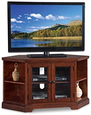 0703f6095298 Corner Tv Stand Console, Double Door Cabinet with Side Shelves, Space  Saving Design,