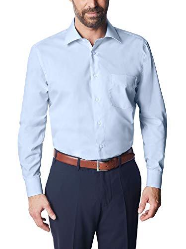 Walbusch Herren Hemd Bügelfrei Chambray einfarbig Hellblau 43/44 - Langarm