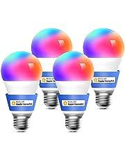 meross Intelligente led-gloeilamp, dimbaar, meerkleurig, E27, 9 W, Smart Light RGBCW, compatibel met Homekit, SmartThings, Amazon Alexa, Google Home, IFTTT, 4 stuks