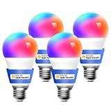 Meross Bombilla LED Multicolor, Inteligente, WiFi, Regulable, Mando a distancia, 60 W, Equivalente a E27, 2700-6500 K, Compatible con Apple HomeKit, Alexa Echo y Google Home. Paquete de 4