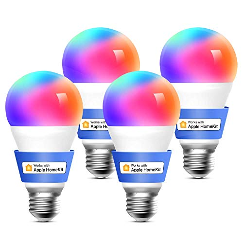 Meross Bombilla LED Multicolor, Inteligente, Wi-Fi, Regulable, Mando a distancia, 9W, E27, 2700-6500 K, Compatible con Apple HomeKit, Alexa Echo y Google Home. Paquete de 4