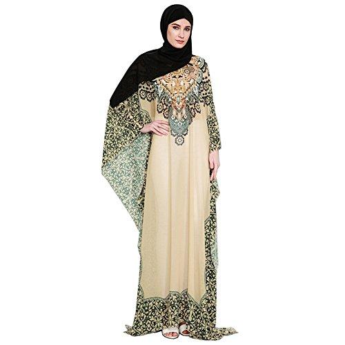 Hougood Jurken voor Vrouwen Zomer Abaya Maxi Jurk Moslim Islamitische Arabische Dubai Kaftan Gedrukt Roven Dressing Jurk Nationale Stijl Jurk Strand Jurk Losse Casual Party Jurk