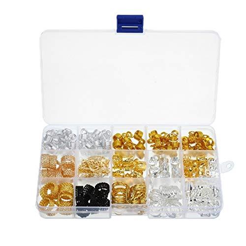 ZQALOVE ZHANGQINGAN 200 unids/Caja Hair Dreadlocks Braids Kit Kit Beads Anillos de Pelo Tubos Peinados Peluitos para temores con Joyas de Caja Accesorios de Estilo para el Cabello