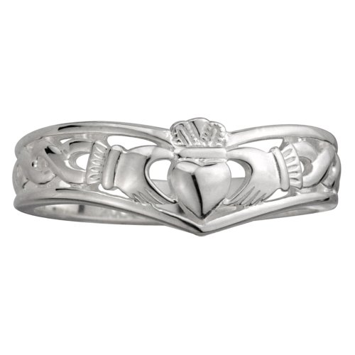 Failte Claddagh Ring Ladies Wishbone Sterling Silver Sz 6