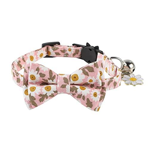 ZOYLINK Collar para Mascotas Ajustable Desmontable Estampado De Flores Tela Algodón Hecho a Mano Desmontable Gato Collar Gatito Collar con Campana