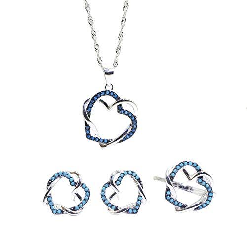 Beydodo Conjunto de Joyas de Plata de Ley Mujer Corazón Hueco con Turquesa Azul Estilo D