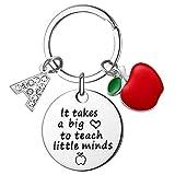 Lehrer-Geschenke für Frauen – It Takes a Big Heart Lehrer Schlüsselanhänger, Lehrer Wertschätzung Geschenke mit Initiale personalisiert - Silber - Medium