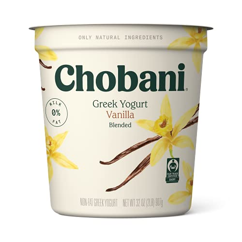 Chobani Non-fat Greek Yogurt, Vanilla Blended, 32 Ounce