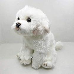 リアルなマルチーズ犬マルタ子犬ぬいぐるみ Triver ぬいぐるみ人形子供の誕生日ギフトホームショップの装飾 24 センチメートル Chongxiang