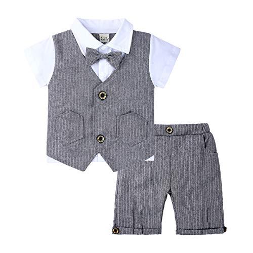 Costume de Monsieur bébé Bébés d'été, Costume de Monsieur de vêtements pour Enfants, Chemise en Coton tricoté Deux pièces + Beau Noeud à Manches Courtes (1~3 Ans, 80~100cm)-grey-100