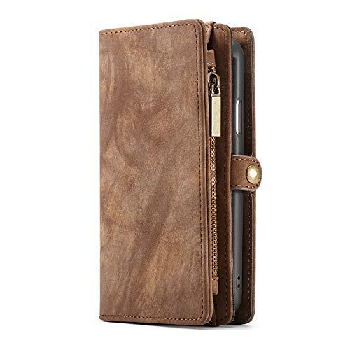 KelaSip iPhone 6 Plus Hülle iPhone 6S Plus Case HandyHülle Leder Handytasche Brieftasche Schutzhülle Geldbörse [Kartenfächer] [Abnehmbarer Magnetisch Fall] für iPhone 6 Plus/6S Plus - Braun
