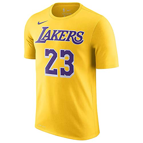 Nike Herren Los Angeles Lakers Lebron James # 23 Icon Name und Nummer Kurzarm NBA T-Shirt -  Gelb -  X-Groß