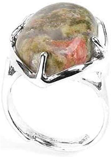 Piedras - Anillo cabujón protector mineral, unakita,