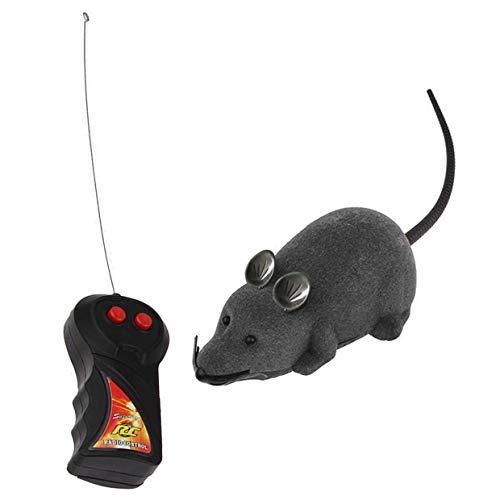YUIO Fernbedienung Rattenmaus Spielzeug für Katze Lustige drahtlose Rotationsmaus Elektronische Rattenmäuse Spielzeug Beflockung Tricky Mausspielzeug - grau