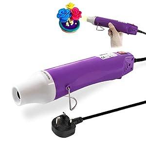 JUSONEY - Pistola de aire caliente, 300 W, secador de aire caliente portátil con herramienta de calor de doble temperatura, para manualidades, grabado y tubo termorretráctil, color morado