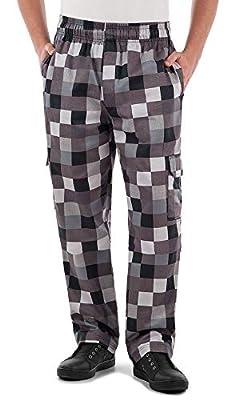 Men's Checkerboard Print Cargo Chef Pant (XS-3X) (Medium)