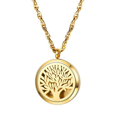 PROSTEEL 18k vergoldet Halskette für Männer Frauen Anhänger mit Kette Hohl Baum des Lebens Medaillon Ätherische Öle Diffusor Floating Locket Aromatherapie Zubehör 8 bunten Pads verfügbar(Gold)