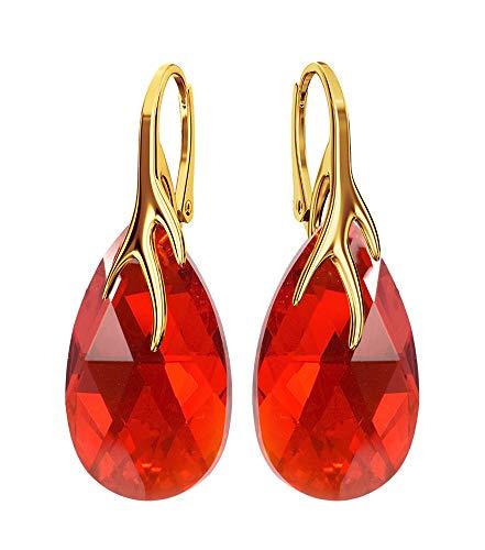 Crystals & Stones Silber 925/Vergoldet 24 K *MANDEL* - *Farben Varianten* Schön Damen Ohrringe Silber 925 - mit Kristallen von Swarovski - Wunderbare Ohrringe mit Geschenkbox BAP39 (Light Siam)
