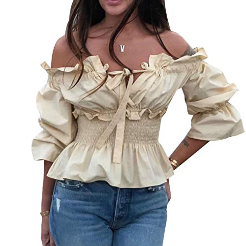 YYW Blusa de hombros descubiertos con volantes y cordones en la cintura con cintura fruncida para mujer