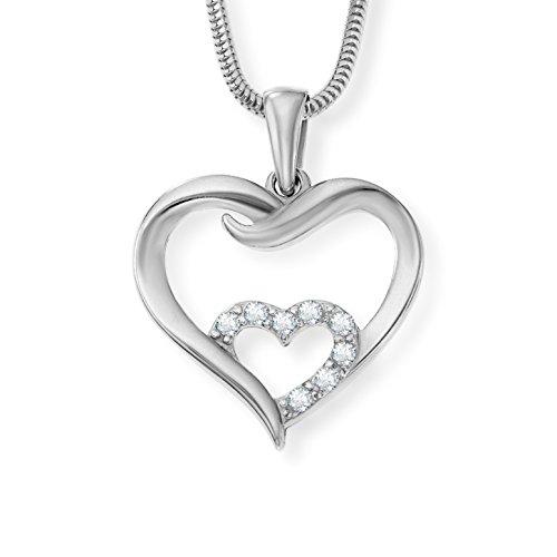 LillyMarie Damen Hals-Silberkette Silber 925 Swarovski Elements Herz-Anhänger Herzkette Klar Längen-verstellbar Schmucketui Geschenke