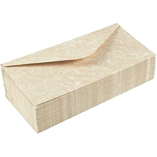 48 Pack Parchment Envelopes - Parchment Paper with Cream Old Fashion Aged Vintage Antique Design - Gum Seal Parchtone Paper Envelopes, 8.75 x 4 Inches Photo #2