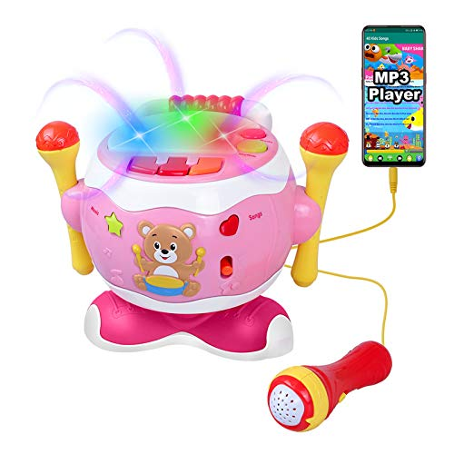 Rabing Baby Drum Set for 1-3 Years Old, Kids Drum Set with Microphpne&Lights, Baby Drums Toy for Girls, Little Piano Keyboard Toy for Infant, Music Drum Toy Birthday Gift for Babies