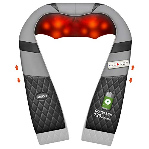 Cordless Back Massager with Adjustable Straps, ATMOKO Shiatsu Neck Massagers with Heat Vibration Rechargeable Shoulder Massager for Foot and Legs, Best Gift for Family, Friends, Workers