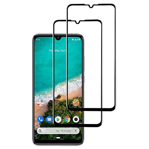 INGEN 2 Piezas Protector de Pantalla para Xiaomi Mi A3, Cobertura Completa, Sin Burbujas, Antihuellas, 9H Dureza, Resistente a Los Arañazos, Cristal Templado para Xiaomi Mi A3 - Negro