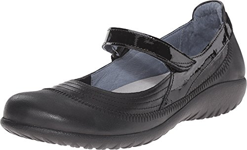 NAOT Women's Kirei Wide Maryjane Black Leather Combo 11 W US