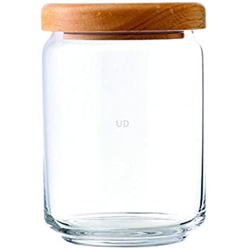 Ocean Clear Pop Jar Container Set Wooden Lid - 1000 ml (Pack of 6)