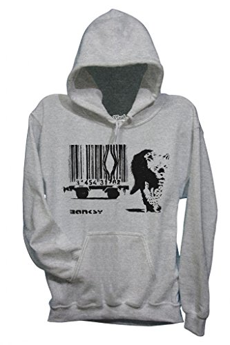 MUSH Sweatshirt Kapuzen Banksy Tiger Barcode - Berühmt by Dress Your Style - Damen-M Grau