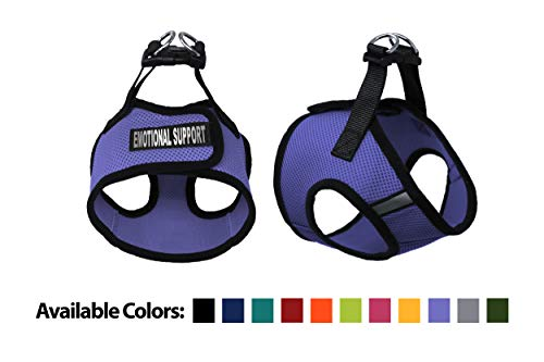Dogline Boston Step-in Air Mesh Dog Harness with Emotional Support Patch No Choke Pet Vest Soft Gentle Padded Chest Halter for Puppies Small Medium and Large Dogs 12 to 14 inches Girth Purple