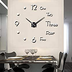 FASHION in THE CITY Large 3D Frameless Wall Clock Stickers DIY Wall Decoration for Living Room Bedroom Office (White)